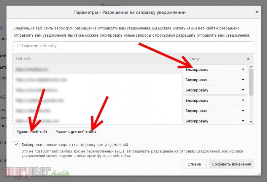 Управление сайтами в списке