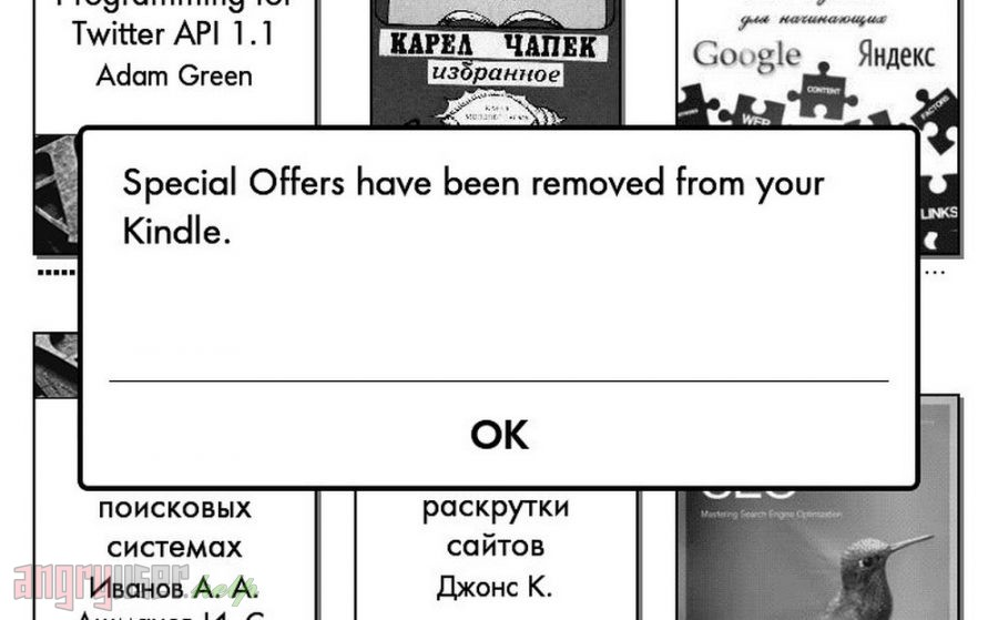 Special Offers have been removed from your Kindle