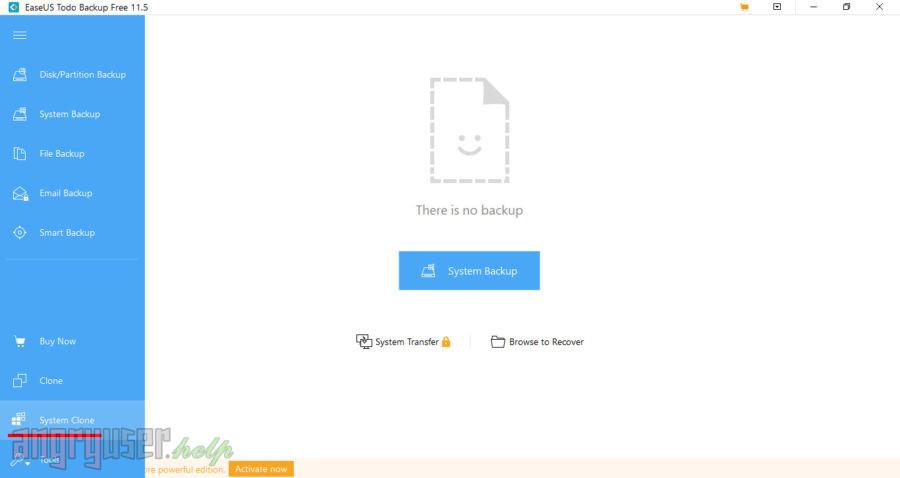 Пункт меню System clone в EaseUS ToDo Backup Free