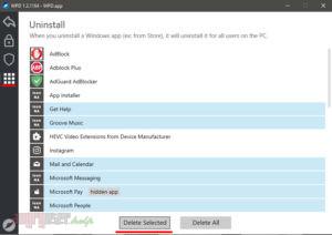 Выбор и удаление приложений в WPD