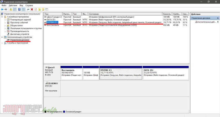 Окно управления дисками в ОС Windows